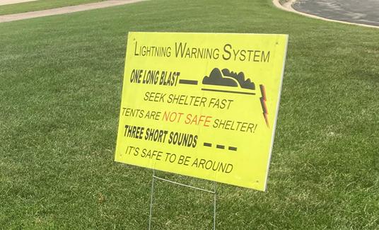 Lightning Warning System Sign